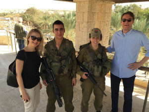 Fig. 2: Dr. Maja Kovacevic and Douglas Grosse with two Israeli soldiers at the River Jordan.