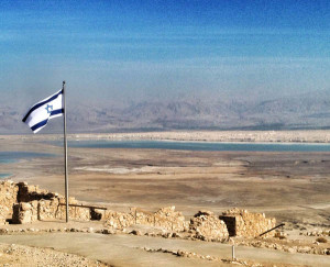 Fig. 3: View from the fortress of Masada tot he Dead Sea and Jordania.